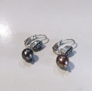 Kenneth Cole Marcasite/Fresh Water Pearls Earrings